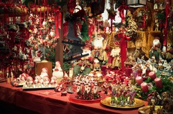 Christmas decorations displayed for sale  at a Christmas Market.