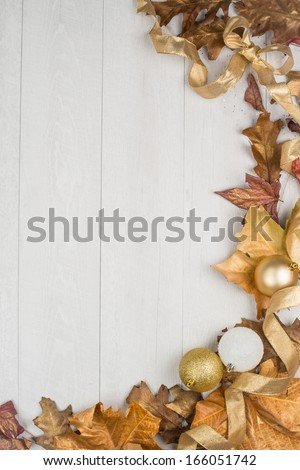 Christmas decorations frame on a wooden board. #166051742