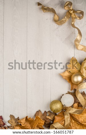 Christmas decorations frame on a wooden board. #166051787