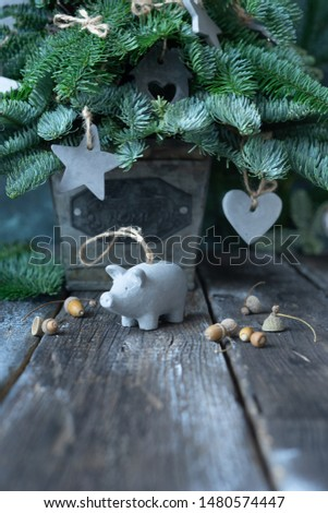 Christmas decorations from cement and nuts. Scandinavian style