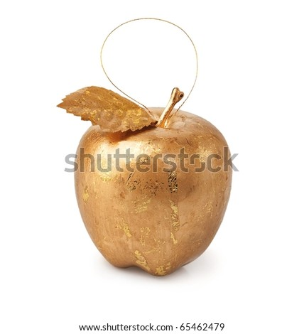 Christmas decorations, golden apple isolated on a white background.