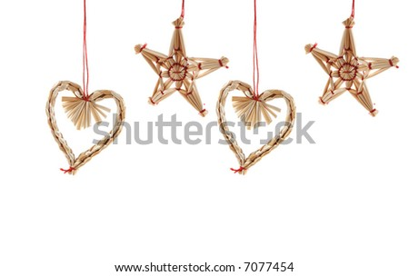 christmas decorations, hearts and stars, isolated on white