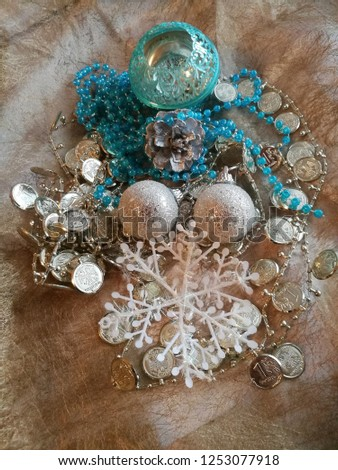 Christmas decorations in a beautiful composition bells silver snowflakes #1253077918