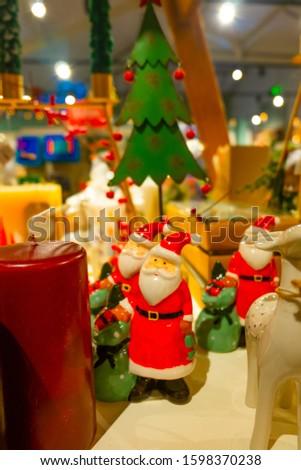 Christmas decorations in Scotland shop. decoration image contain certain grain noise and soft focus.