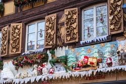 Christmas decorations in the Christmas Market, Alsace, France