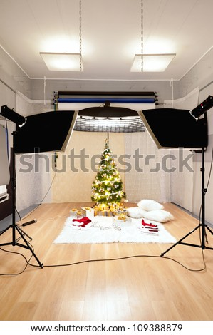 Christmas decorations in the photo studio - stock photo