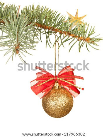 Christmas decorations isolated in white