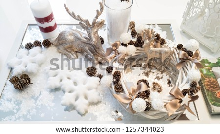 Christmas decorations, New Year's room interior decoration with gifts