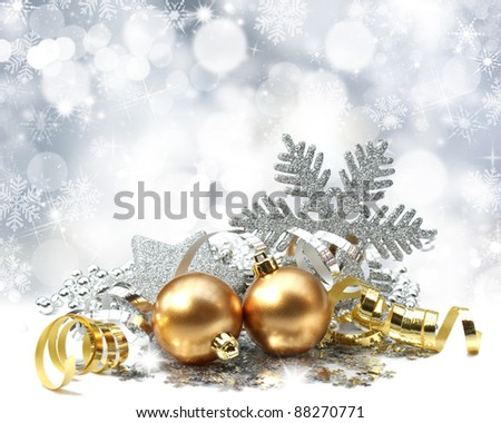 Christmas decorations on a background of snowflakes and stars