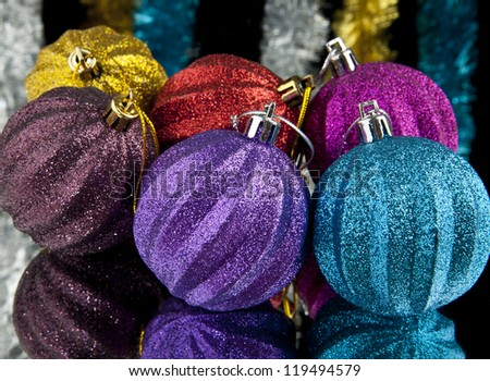 christmas decorations on a black background