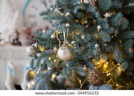 Christmas decorations on a christmas tree #344956232
