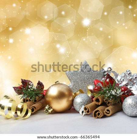 Christmas decorations on a glittery gold background