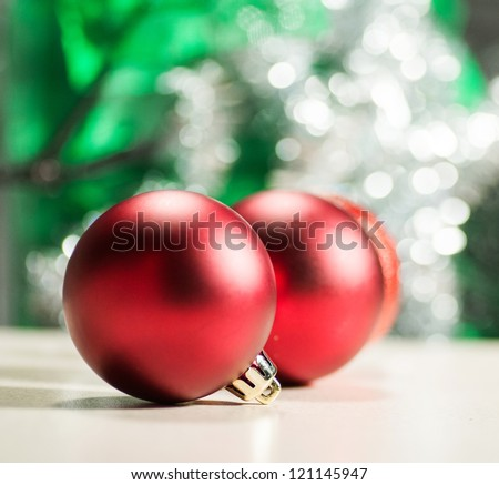 Christmas decorations on a studio surface