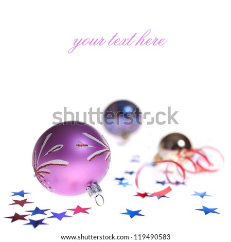 Christmas decorations on a white background, with space for your text.