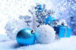 Christmas decorations on light background
