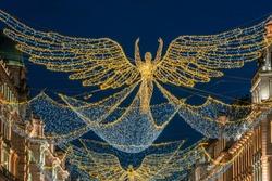 Christmas decorations on Regent Street, London, UK