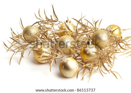 Christmas decorations on white background. - stock photo