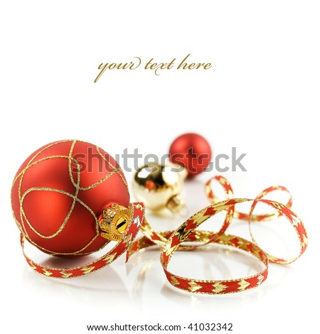 Christmas decorations on white background with sample text