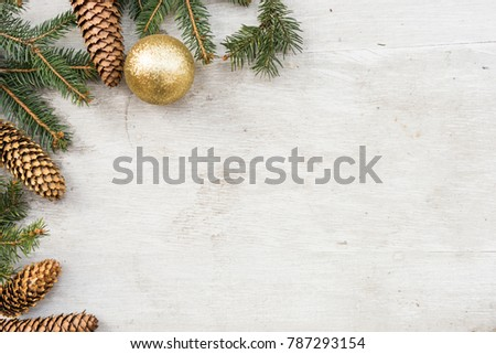 christmas decorations, pine tree branch and cone on white wood #787293154