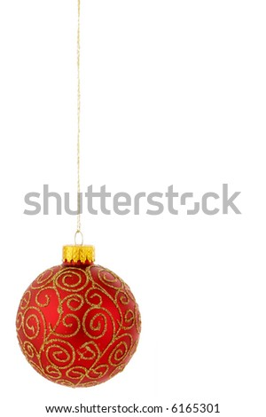 Christmas decorations red and gold on the left