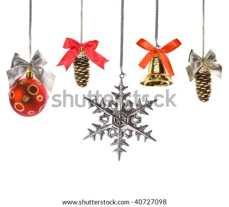 Christmas decorations set with bows isolated on white background