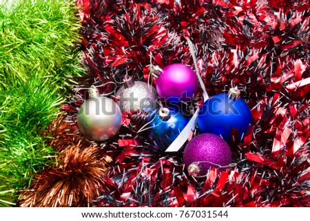 christmas decorations tinsel and christmas balls