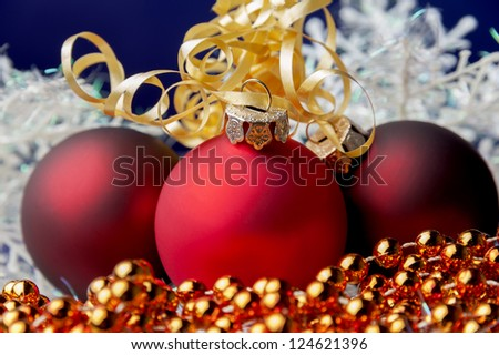 Christmas decorations,tinsel,red balls,tree,studio shot