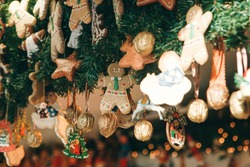 Christmas decorations. Various gingerbreads and other decorations on a Christmas tree in Berlin in Germany.