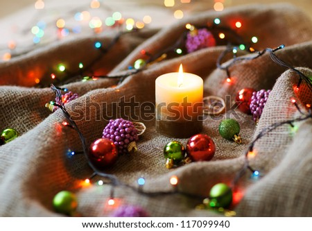 Christmas decorations with linen cloth - stock photo