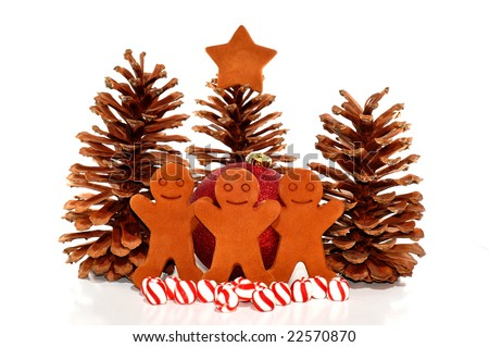 Christmas Decorations with Pine Cones, Gingerbread Men and Peppermint Candies