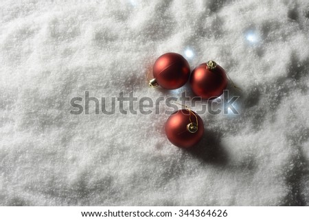 Christmas decorative balls in the snow #344364626