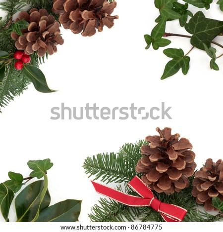Christmas decorative border of holly, ivy, mistletoe, pine cones and spruce fir leaf sprig with red ribbon isolated over white background.