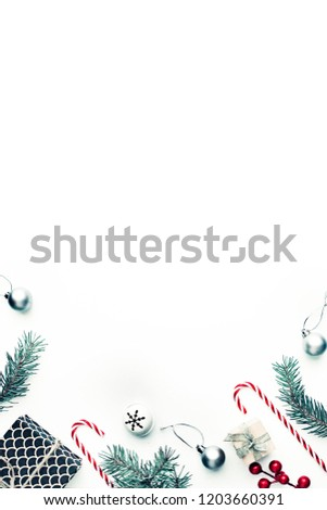 Christmas decorative ornaments and gifts on pastel background in vintage color #1203660391
