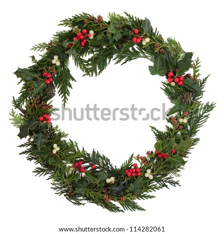 Christmas decorative wreath of holly, ivy, mistletoe, cedar and leyland leaf sprigs with pine cones over white background.