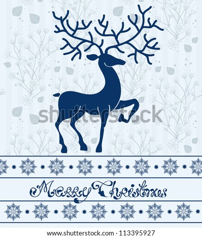 Christmas deer card with text: Merry Christmas, beautiful illustration