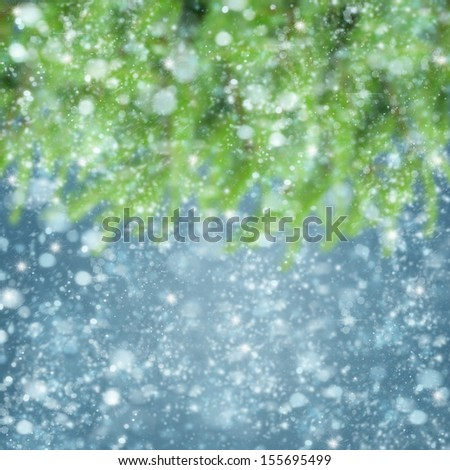 christmas defosued background with fir tree and snow