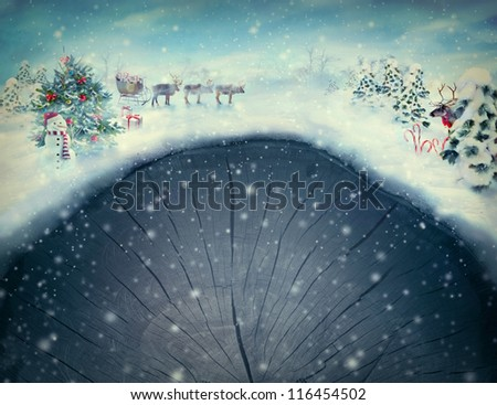 Christmas design  card -  Xmas valley. Holiday landscape with Christmas tree, snowman, Rudolph and reindeer with sledge and presents in snowing forest. Card with copyspace.