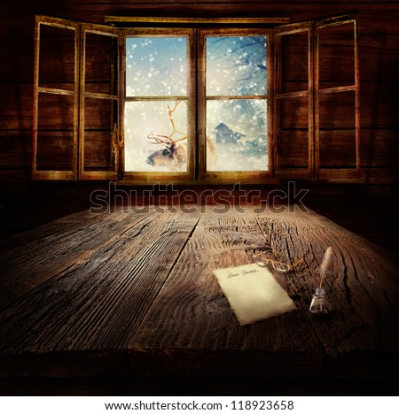 Christmas design - Dear Santa. Xmas winter background in wooden cabin with letter to Santa Clause, reindeer and winter landscape in the back.