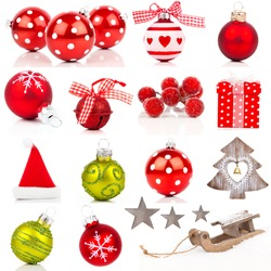 Christmas design elements collection isolated on white