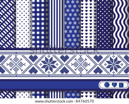Christmas digital scrapbooking paper swatches in blue and white with Scandinavian style ribbon. Also available in vector format.