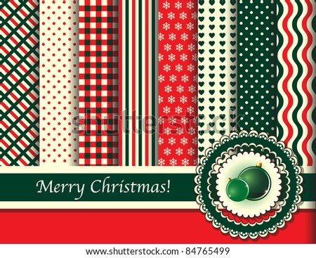 Christmas digital scrapbooking paper swatches in retro tones with ribbon and Christmas baubles. Also available in vector format.