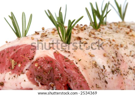 Christmas dinner, joint of raw meat ready for cooking, isolated on white, macro close up with copy space