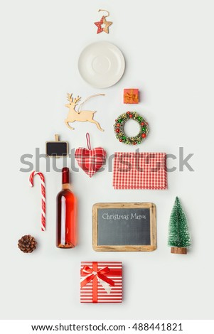 Christmas dinner objects organized as christmas tree for mock up template design. View from above. Flat lay #488441821