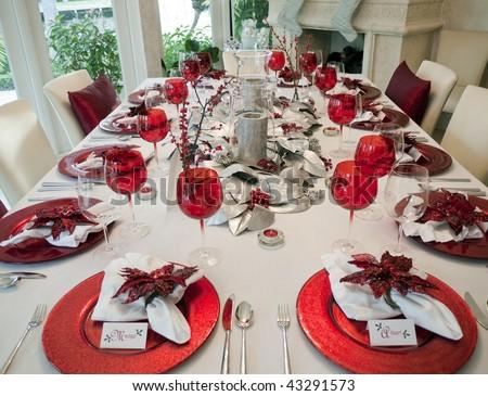 Christmas Dinner Table - stock photo