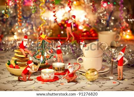 Christmas dinner table prepared by seven dwarfs
