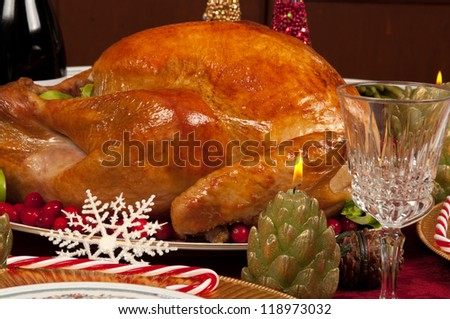Christmas dinner with delicious turkey