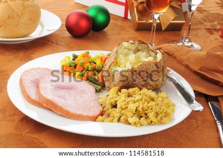 Christmas dinner with ham and stuffing