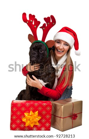 Christmas dog with presents isolated on white - stock photo