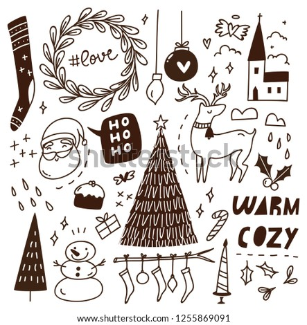 Christmas doodle background #1255869091