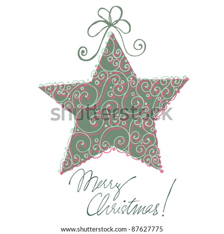 Christmas doodle greeting card design with star
